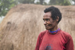 Middle aged dani lady. Baliem Valley, West Papua, Indonesia, February 14th, 2016: adani tribe woman royalty free stock image