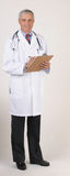 Middle aged Doctor in Lab Coat Full Length Stock Photo