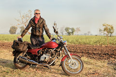 Middle aged european Indian motor cycle Stock Photos