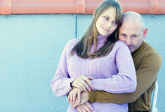 Middle aged father and young teenager daughter Stock Photo