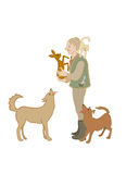 Middle-aged Forester holding a fawn. Other animals: Сat is on t Royalty Free Stock Images