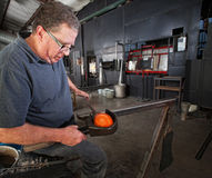 Glass Worker Clamping Glass Stock Photos