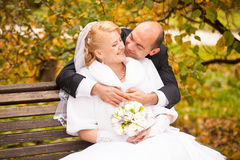 Middle aged groom kissing bride sitting on bench Stock Photography