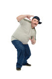 Middle aged guy learns to dance rap. On a white background Royalty Free Stock Images