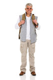 Middle aged hiker backpack Stock Images