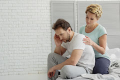 Middle-aged husband suffering from sexual disorder stock photos