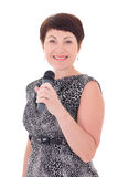 Middle aged journalist with microphone Royalty Free Stock Photo