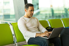 Middle aged man airport Stock Image