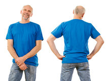 Middle aged man with blank blue shirt Royalty Free Stock Photos