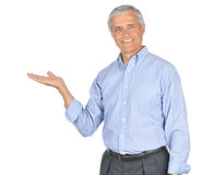 Middle Aged Man in Blue Shirt Palm up Royalty Free Stock Photo