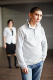 Middle aged man in casual clothes with short hair Royalty Free Stock Photo