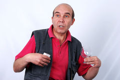 Middle aged man with Cognac Royalty Free Stock Photo