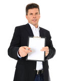 Middle-aged man doing signature campaign Stock Images