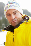 Middle Aged Man Dressed For Cold Weather Stock Images