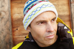 Middle Aged Man Dressed For Cold Weather Stock Photo