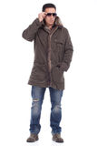 Middle aged man dressed in winter clothing Royalty Free Stock Images