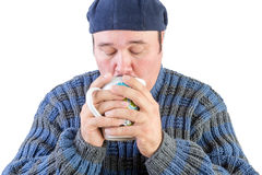 Middle aged man drinking hot beverage Stock Photos