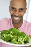 Middle Aged Man Eating Fresh Fruit Salad Royalty Free Stock Image