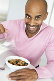 Middle Aged Man Eating Healthy Breakfast Stock Images