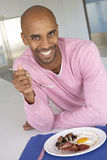 Middle Aged Man Eating Unhealthy Fried Breakfast Stock Image