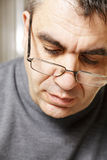 Middle-aged man in eyeglasses front view Royalty Free Stock Photo