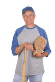 Middle aged Man with glove and bat Stock Photos
