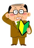 A middle aged man has a symbol of a bigginer in his hand and feels shy, thinning hair. The image of A middle aged man has a symbol of a beginner in his hand and vector illustration