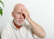 Middle-aged man with headache Royalty Free Stock Images