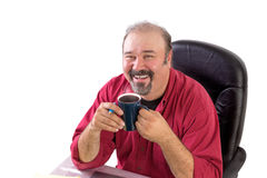 Middle Aged Man with His Morning Coffee Stock Photos