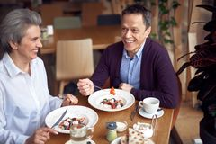 Middle aged man and lady having dinner in cafe. Enjoyable meetings. Waist up portrait of middle aged elegant smiling women and male communicating together while stock image