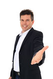 Middle-aged man lends helping hand. Attractive middle-aged man lends helping hand. All on white background Stock Images