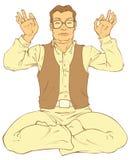 Middle-aged man meditates Royalty Free Stock Image