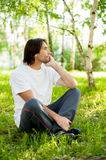 Middle aged man in park Royalty Free Stock Image