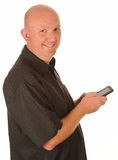 Middle aged man with phone Stock Image