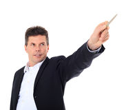 Middle aged man pointing with pen Stock Photo