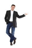 Middle aged man pointing to the side Royalty Free Stock Photography
