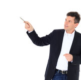 Middle-aged man points to the side Royalty Free Stock Photography