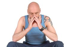 Middle aged man, praying stock photo