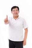 Middle aged man raising 1 finger, no.1 gesture Stock Photography