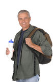Middle aged man ready for a hike Stock Photos