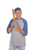 Middle aged man ready to play baseball Royalty Free Stock Photos