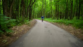 Middle-aged man is riding a road bike along a forest road stock video
