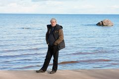 Middle-aged man at the sea. Stock Photography