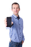 Middle aged man showing smart phone with blank screen isolated o. N white background Stock Photography