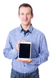 Middle aged man showing tablet pc with blank screen isolated on Royalty Free Stock Image