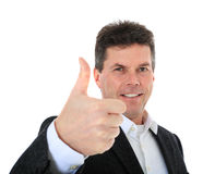 Middle-aged man showing thumbs up Stock Photos