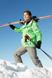 Middle Aged Man On Ski Holiday In Mountains Royalty Free Stock Photography