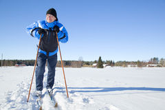 Middle-aged man skiing Royalty Free Stock Images