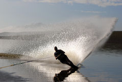 Middle aged man slalom skiing Royalty Free Stock Photo