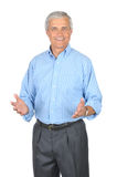 Middle aged Man in Striped Blue Shirt Gesturing stock images